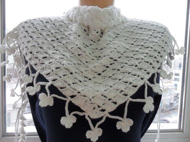 Белый бактус(шейный платок) крючком.White baktus (scarf) Crochet (Шаль 22)