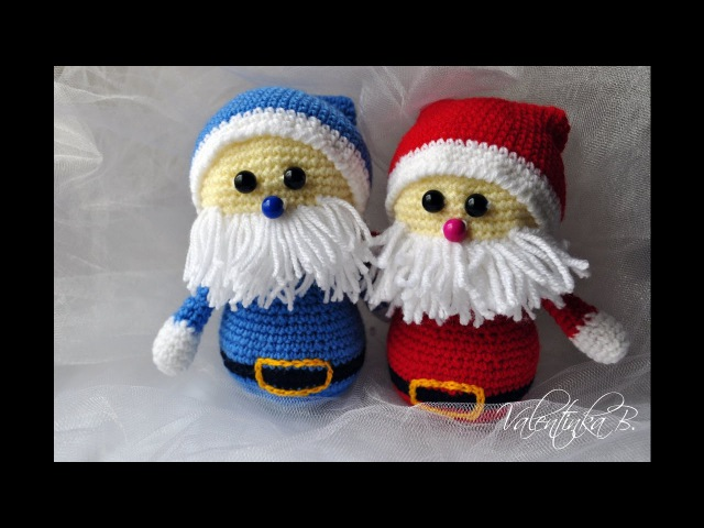 мк Санта Клаус крючком Дед Мороз Santa Claus часть 1 Valentinka B