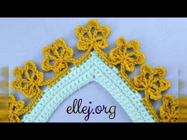♥ Обвязка края с цветочками Цветочная кайма крючком Мастер класс по вязанию крючком