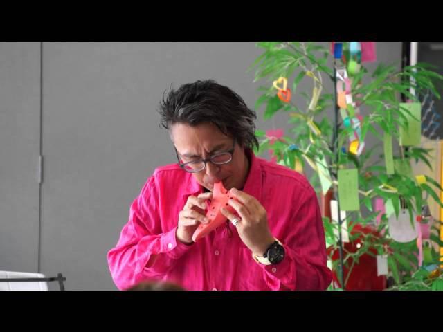 Osawa i plastic ocarinas played by Mr. Satoshi Osawa at Hokkaido Yamaha