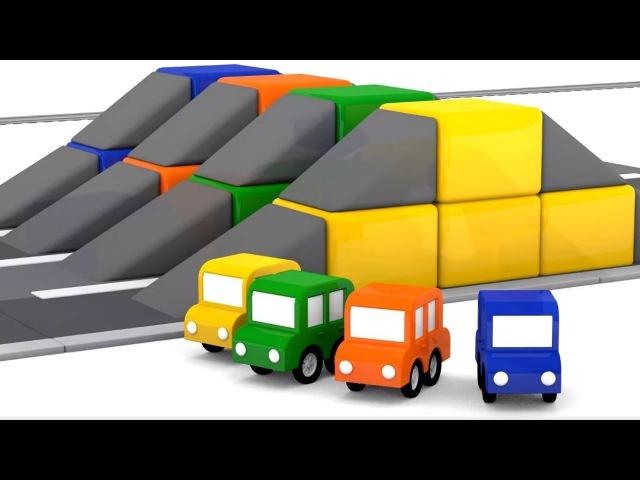 4 Carros Coloridos – Corrida de Obstáculos - Desenhos animados para crianças - DesenhosCarros
