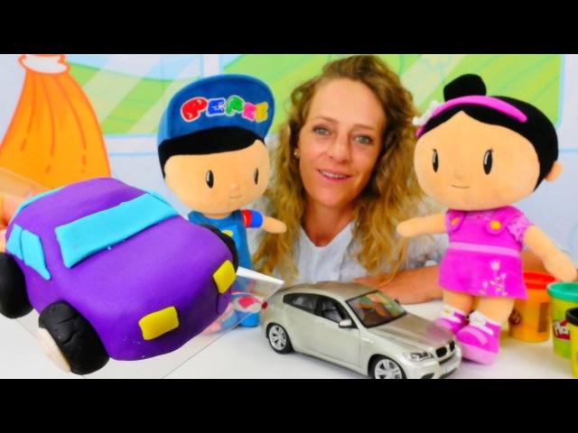 Türkçeizle. Nicole, Pepee ve Şila oyun hamurundan araba yapıyorlar🚙hamuroyunları🌟