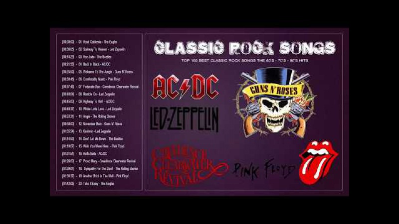 Top 100 Best Greatest Classic Rock Songs The 70's 80's 90's Great Bands