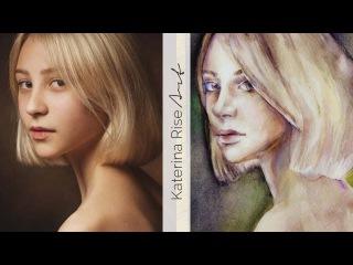 Как я рисую портреты по фотографии акварельными красками  Как нарисовать девушку | Katerina Rise