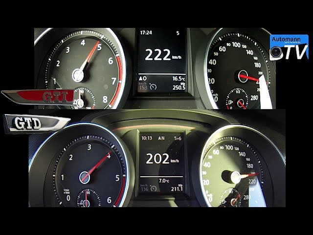 Golf 7 GTI vs. Golf 7 GTD - 0-220 km/h acceleration (1080p)