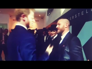 Prince Harry and Tom Hardy having a good laugh at the premiere of Dunkirk in London.