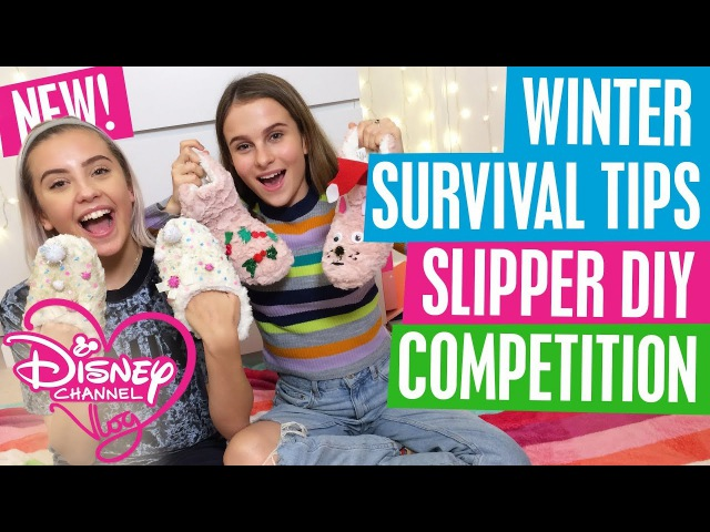 DISNEY CHANNEL VLOG | HOW TO SURVIVE WINTER | DIY SLIPPER TUTORIAL | SPIN MASTER WIN!