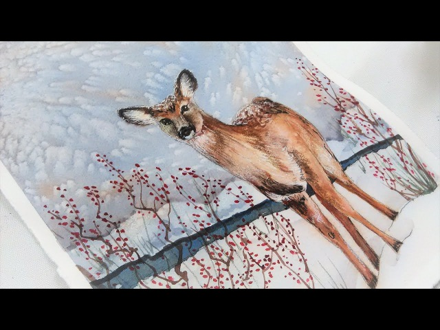 LIVE: Snowy Deer in Watercolor 12:30pm ET Friday