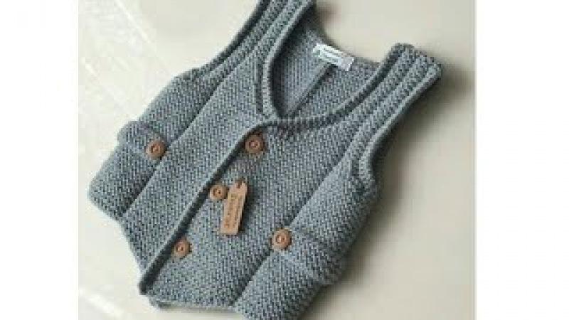 детский жилет спицами платочной вязкой (часть 1)