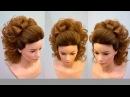 Высокий хвост с бантом из волос Свадебная причёска на длинные волосы