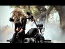 Supermodel Marissa Miller does a burnout on a Harley-Davidson
