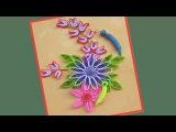 Quill Paper  How to make Beautiful Flower Design Greeting Card  Paper Quilling Art