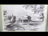 Рисуем пейзаж карандашом. Пошаговый бесплатный МК