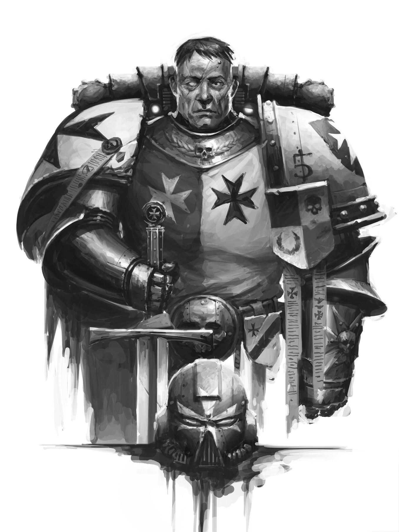 Атмосферный  арт Чёрного Храмовника (Warhammer 40.000)