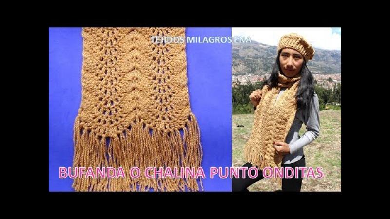 Bufanda o Chalina punto Onditas paso a paso tejido a crochet o ganchillo muy Fácil y rápido de tejer