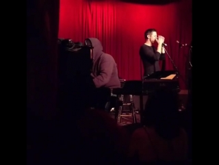 "Jeremy Renner sings ""House of the rising Sun"" with his friend Brother Sal at the ""Hotel Café"" in LA on February 9, 2017"
