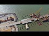 Крымский мост 4K  Строительство на косе Тузла от Тамани до РМ 1