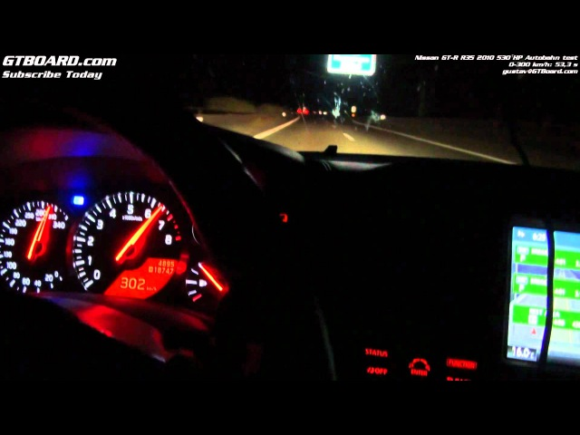Nissan GT-R 0-300 kmh (0-186 mph) Autobahn at night by GTBOARD.com and Gustav (485 HP stock)