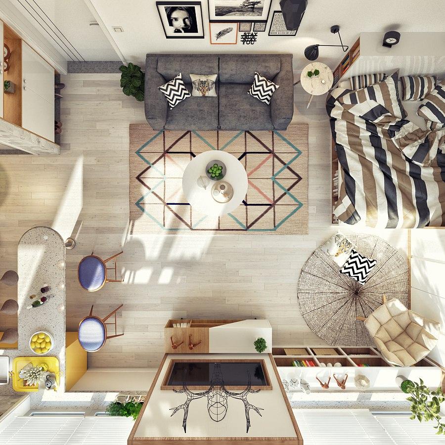 Яркий проект небольшой квартиры-студии без точного метража.