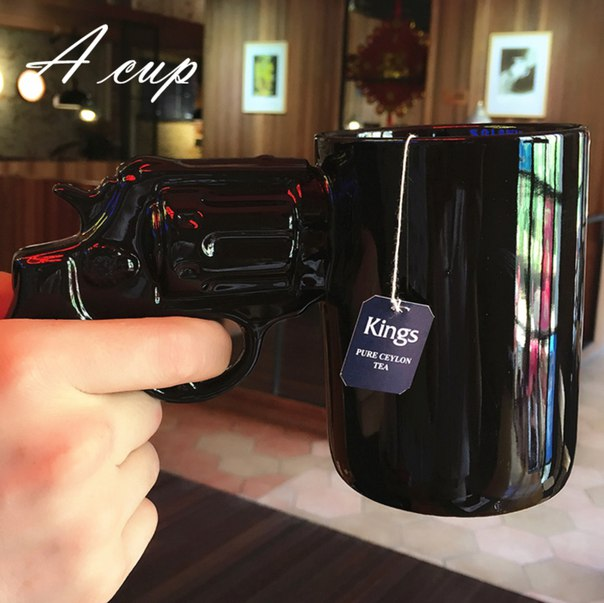 Крутая кружка!  https://ru.aliexpress.com/store/product/Creative-Personality-Revolvers-Pistol-Gun-Drinkware-Mugs-Ceramic-Coffee-Water-Cup-Black-Mug-Boyfriend-Birthday-Gift/1849634_32742874186.html?detailNewVersion=&categoryId=100003290