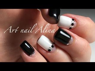 Стильный Черно-Белый Маникюр с Лентами и Стразами на коротких ногтях!