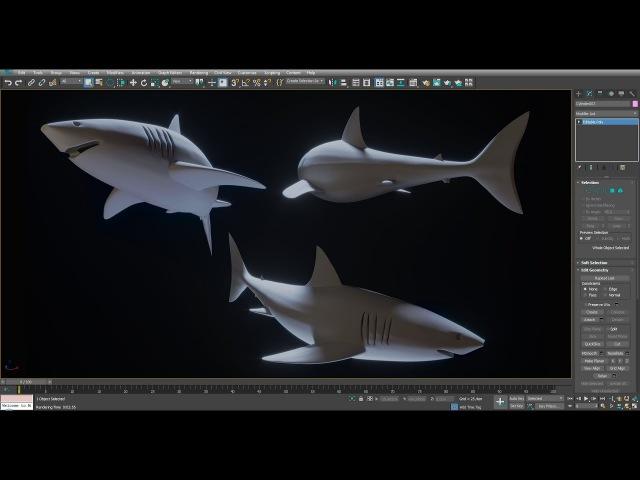 Моделирование акулы в 3ds Max.
