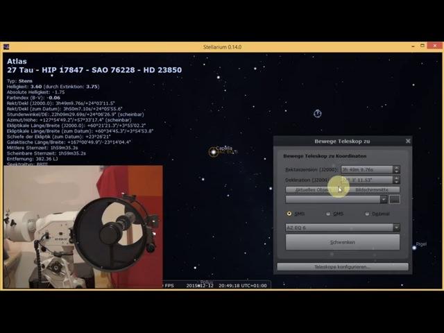 Bluetooth Teleskop Steuerung einer Skywatcher AZ-EQ6 mit Synscan via Stellarium0.14.0