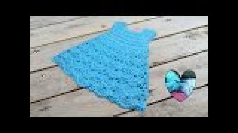 Vestido tejido a crochet con motivo abanicos todas las tallas 1/2