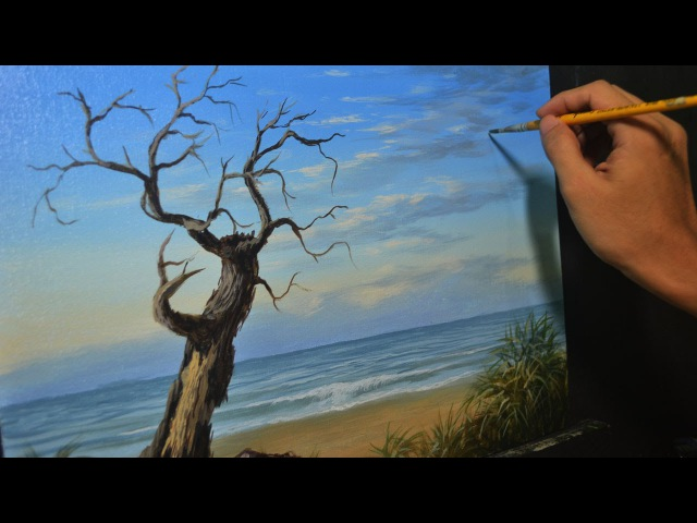 Acrylic Landscape Painting Lesson - Old Tree in the Beach by JMLisondra