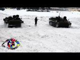Армейские гонки на МТЛБ во время учений зимой. HD Music