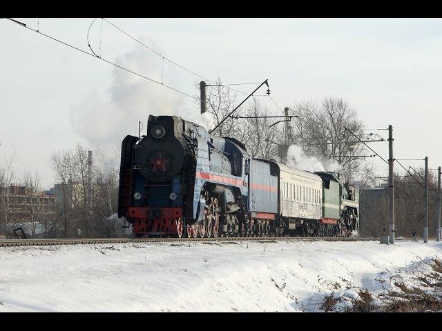 Паровозы П36 0027 и 0120 с туристическим поездом на станции Бирюлёво Московской жд.