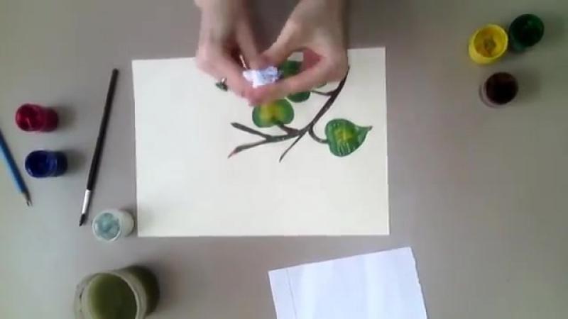 Рисование мятой бумагой Сирень