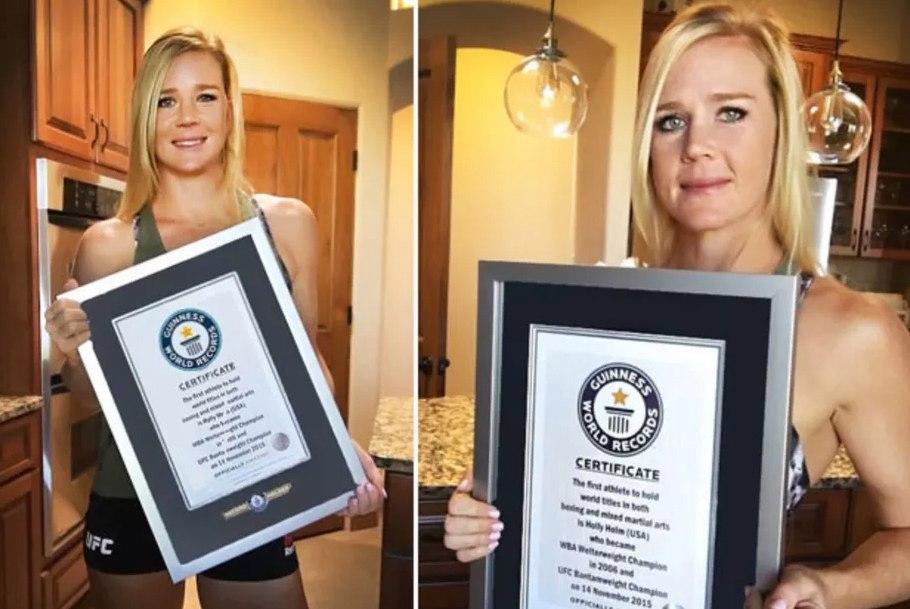 Холли Холм с сертификатом Книги рекордов Гиннеса