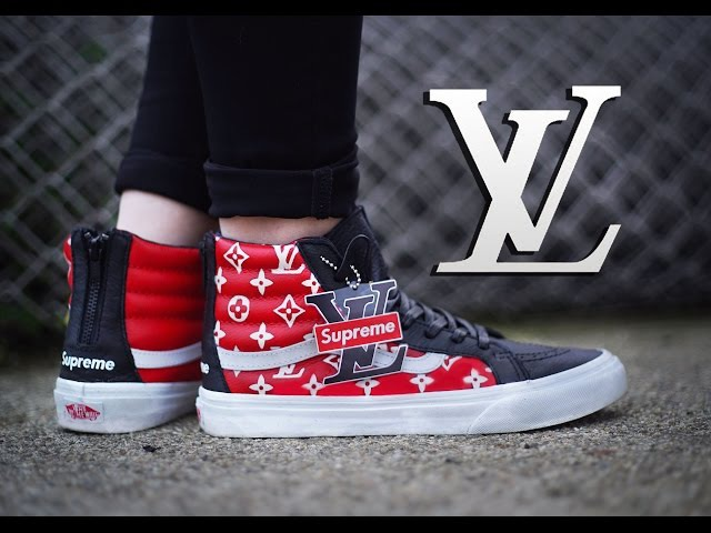 How To: Louis Vuitton x Supreme Collab Vans Sk8 Hi Custom On Foot | Dnicecustoms Stencil Tutorial