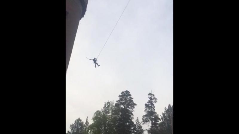 Роупджампинг Ангарск прыжок вид с низу 2017