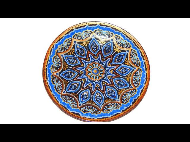 Стеклянная тарелка Точечная роспись Мастер класс