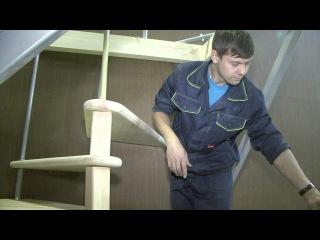 Сборка и монтаж деревянной межэтажной винтовой лестницы ЛЕС-10
