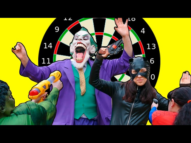 Kill the Joker! As superheroes shot the Joker and Catwoman. Funny kids video with spiderman IRL.