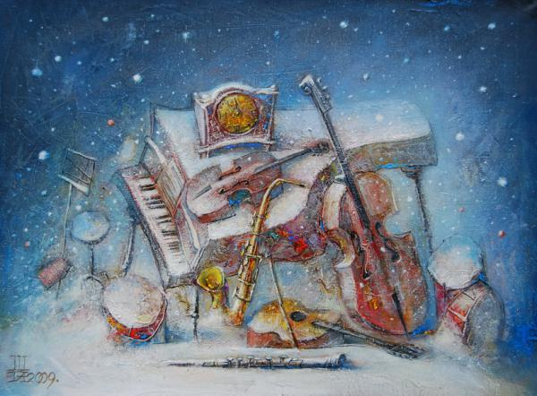 Рисунок на музыкальную новогоднюю тему