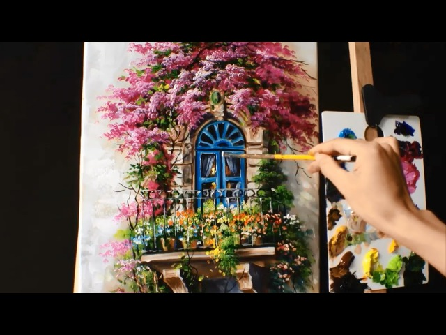 How to Paint a Balcony with Bougainvillea - Acrylic lessons