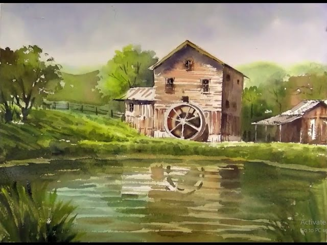 Watercolor landscape painting : Old Mill silhouetted against the Lake