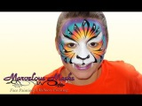 Kaleidoscope Rainbow Tiger Face Painting  Marvelous Masks Chicago Face Painting