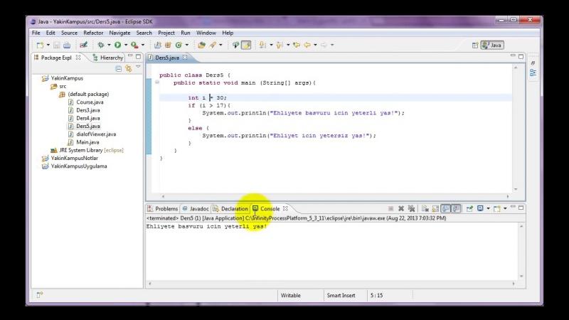 Yakın Kampüs - Java ile Programlamaya Giriş - Ders 5- If Komutu (Part I)