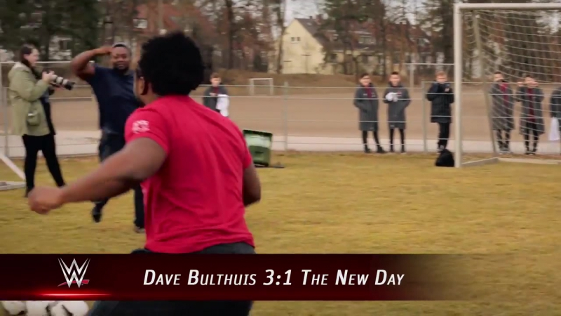 Dave Bulthuis competes against The New Day during a soccer drill