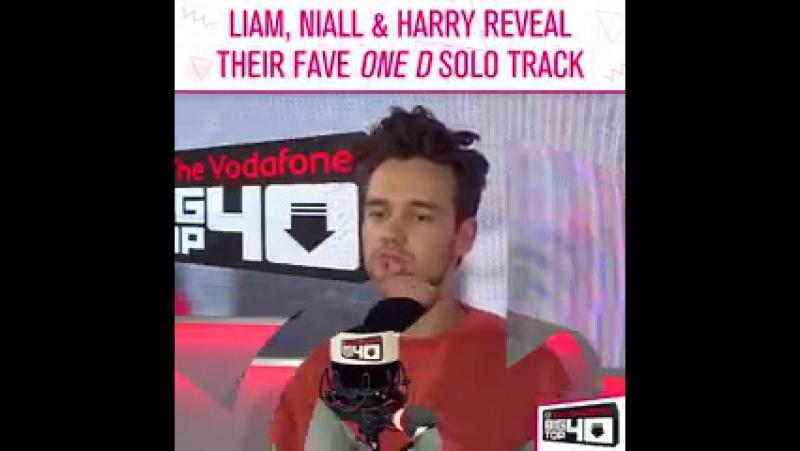 Лиам, Найл и Гарри отвечают на вопрос о том, какая у них любимая сольная песня у ребят из 1D.