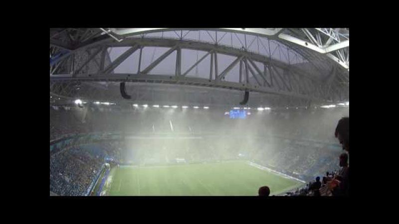 Зенит - Спартак. Дождь и град перед матчем на Санкт-Петербург Арена