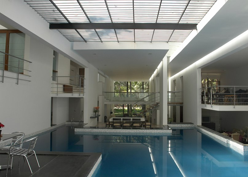 Skylit swimming pool forms the heart of Bangalore residence by Ochre