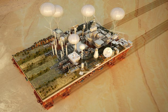 Французский архитектор Стефан Малка увлечен темой неиспользованного потенциала пустыни, его последняя разработка «Зеленая машина» представляет собой концепт мобильной платформы в сочетании с индустриальным городом, которая регенерирует сухие и бесплодные пейзажи.