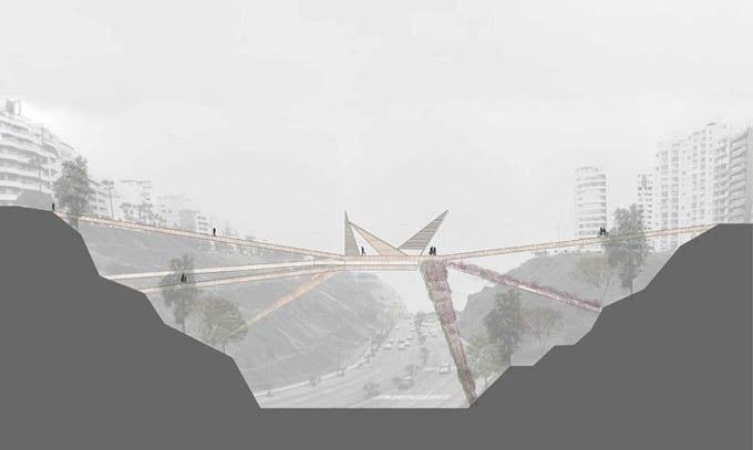Этот пешеходный мост необычной формы призван соединить два района Лимы: Мирафлорес и Барранко.