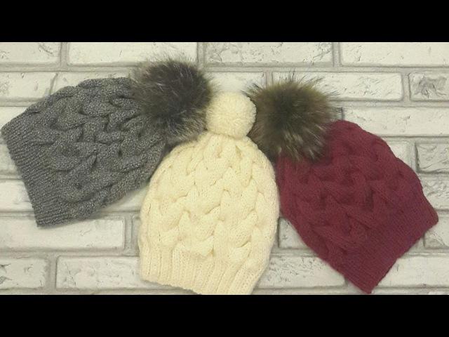 Модная красивая шапка с косами спицами Без шва Вязание спицами Hat Вязать легко